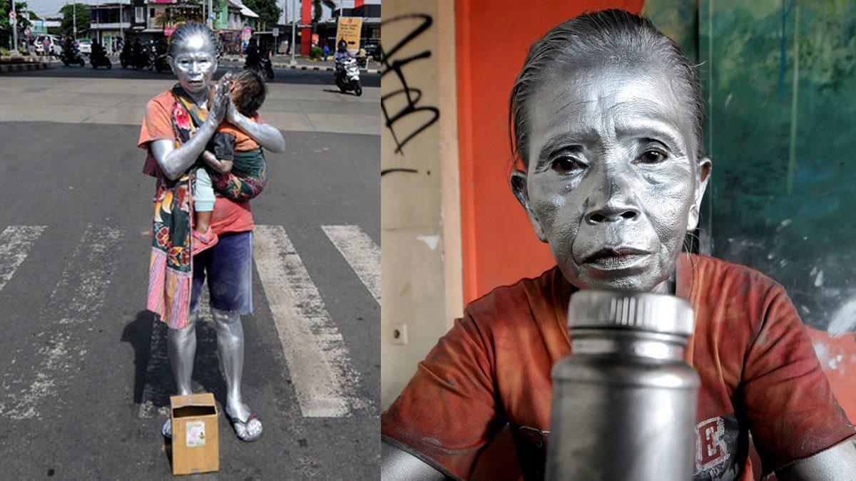 ยาย แปลงเป็นรูปปั้นสีเงิน หาเงินเลี้ยงหลาน เผยใช้น้ำยาล้างจานล้างตัว